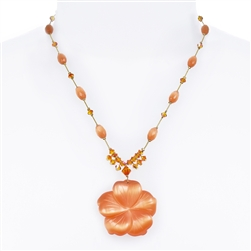 Andrea Necklace - Orange Cats Eye