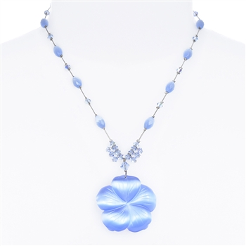 Andrea Necklace - Lt. Sapphire Cats Eye