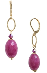 Ashley Drop Earring - Magenta Jade