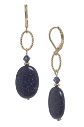 Ashley Drop Earring - Navy Goldstone