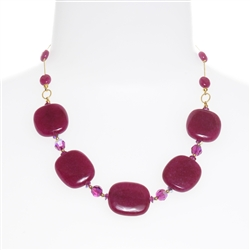 Ashley Necklace - Magenta Jade