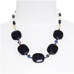 Ashley Necklace - Navy Goldstone