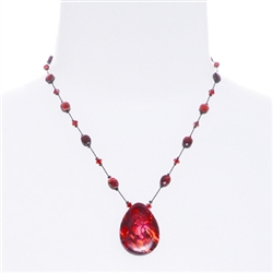 Allison Pendant Necklace - Red Abalone