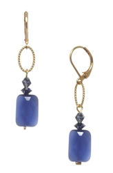 Brianna Drop Earring - Navy Goldstone