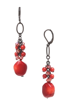 Brianna Long Earring - Coral