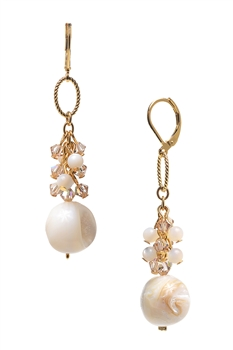 Brianna Long Earring - Ivory Shell