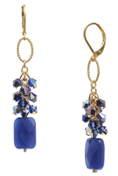 Brianna Long Earring - Navy Goldstone