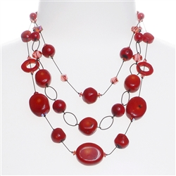 Brianna Tier Necklace -  Coral