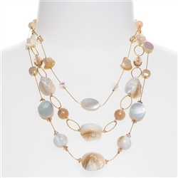 Brianna Tier Necklace -  Ivory Shell