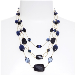 Brianna Tier Necklace - Navy Goldstone