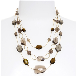 Brianna Tier Necklace - Smokey Quartz