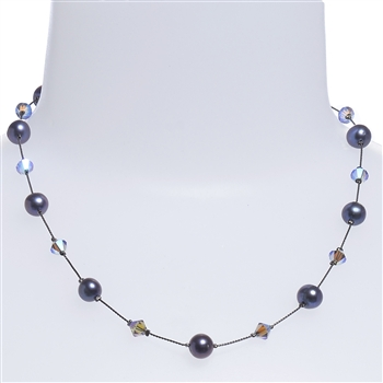 Clansy Pearl Necklace - Gray