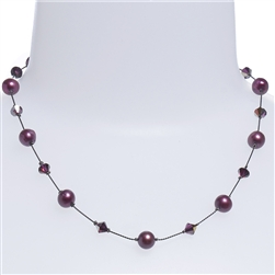 Clansy Pearl Necklace - Plum