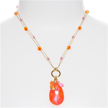 Carrie Necklace - Orange / Pink