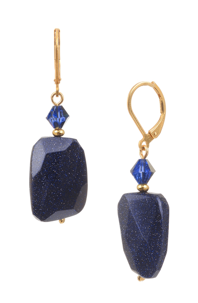Gie Drop Earring Navy Goldstone