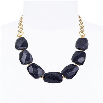 Giselle Necklace - Navy Goldstone