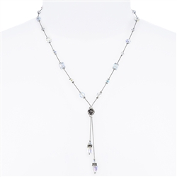 Heidi Necklace - Crystal Aurora Borealis on Silver