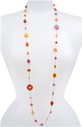 Annie Illusion Necklace - Orange / Pink