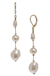 Illusion Pearl Long Earrings - Cream