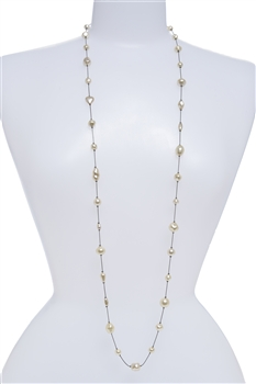 Illusion Long Pearl Necklace - Cream