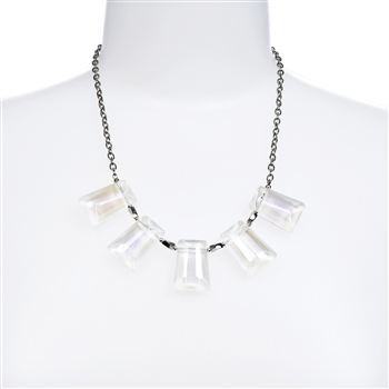 White Crystal Statement Necklace