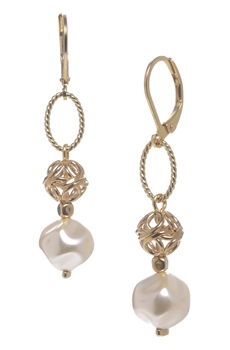 Lauren Pearl Drop Earring - Cream