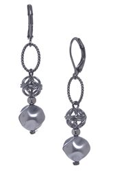 Lauren Pearl Drop Earring - Hematite