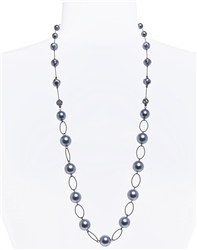 Lauren Pearl Necklace - Hematite