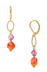 Melinda Drop Earring - Orange Pink