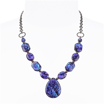 Paxton Pendant Necklace - Purple Abalone