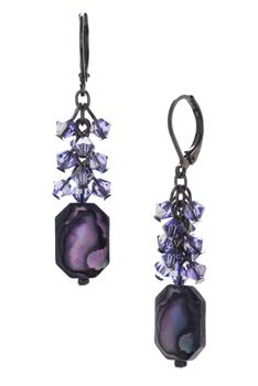 Ronnie Mae Long Earrings - Purple Abalone