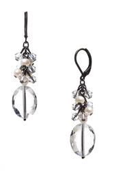 Ronnie Mae Long Earrings - Crystal / Pearl