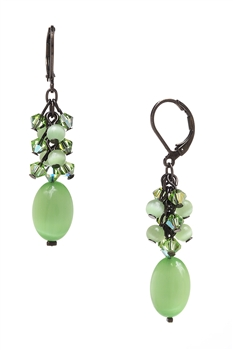 Ronnie Mae Long Earrings - Peridot Green