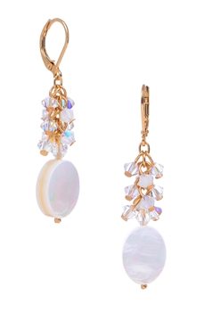 Ronnie Mae Long Earrings - White Mother of Pearl