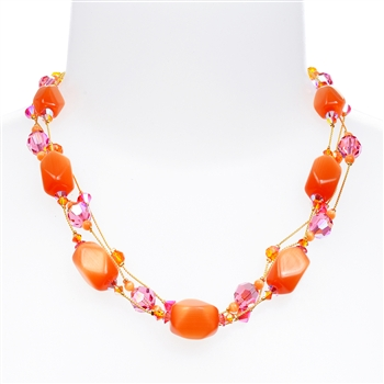 Ronnie Mae Necklace - Orange / Pink