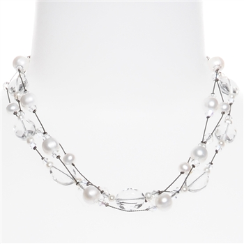 Ronnie Mae Necklace - Crystal / Pearl
