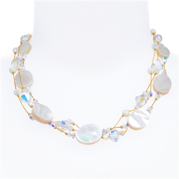 Ronnie Mae Necklace - White Mother of Pearl