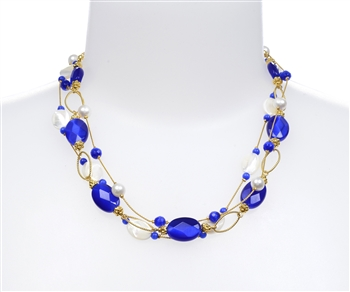 Ronnie Ring Necklace - Navy/ White