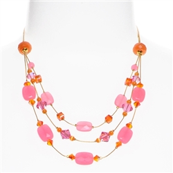 Ronnie Tier Necklace - Pink / Orange