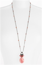 Zoie Long Pendant Necklace - Coral