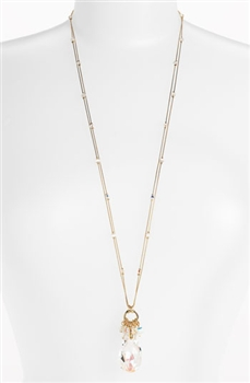 Zoie Long Pendant Necklace - Clear Swarovski Crystal