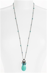 Zoie Long Pendant Necklace - Turquoise